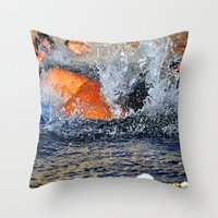 swimming Throw Pillows featuring swimming by  Agostino Lo Coco