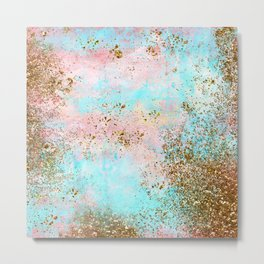 Pink and Gold Mermaid Sea Foam Glitter Metal Print