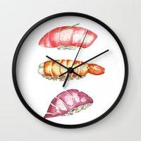 sushi Wall Clocks featuring Sushi  by kristinesarleyart