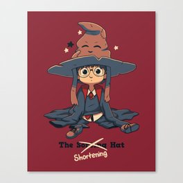 The Shortening Hat // Chibi Wizard, Fantasy, Magic Canvas Print