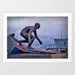 Tim Kelly's statue - Hermosa Beach Pier Art Print