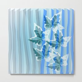 Modern stripes and painterly Ivy leaves Metal Print