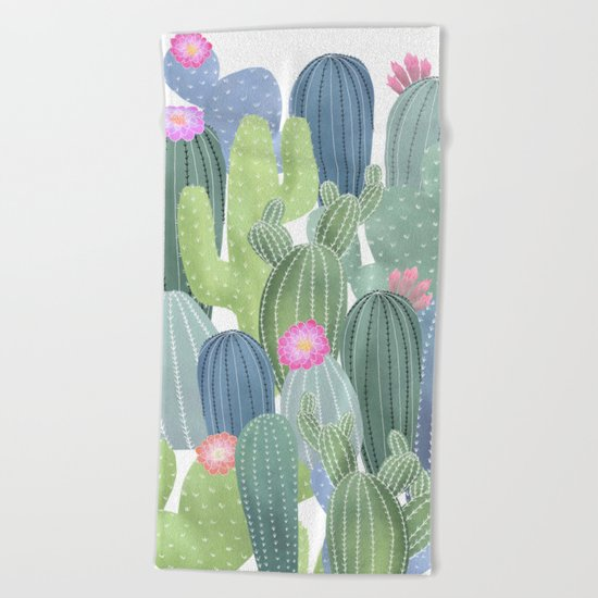 Cacti Love / Watercolor Cactus Pattern Beach Towel