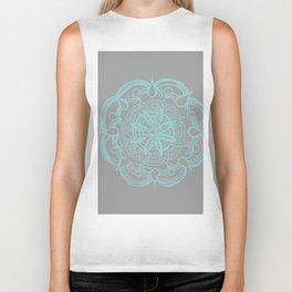Mint Gray Romantic Flower Mandala #4 #drawing #decor #art #society6 Biker Tank