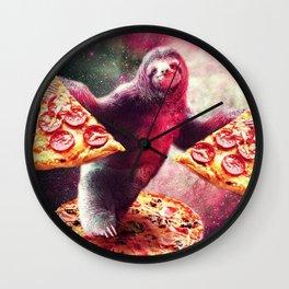 Pizza Sloth Wall Clock