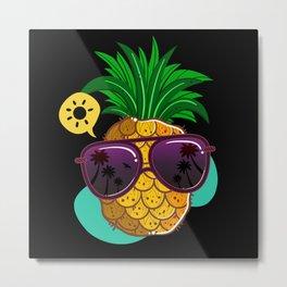 Pineapple Sunglasses Aloha Beach Hawaiian Hawaii Metal Print