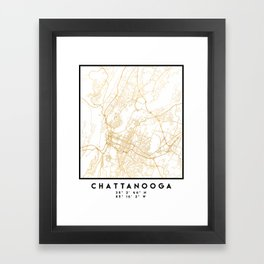 CHATTANOOGA TENNESSEE CITY STREET MAP ART Framed Art Print