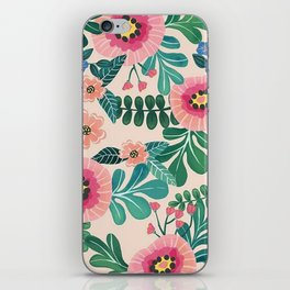 Colorful Tropical Vintage Flowers Abstract iPhone Skin