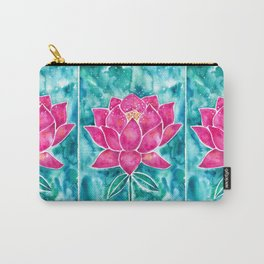 Sacred Lotus – Magenta Blossom with Turquoise Wash Carry-All Pouch
