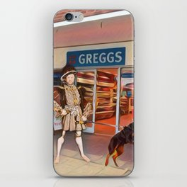 Henry VIII and Anne Boleyn get a steak bake at Greggs with Tommy on tow and Poundland shopping iPhone Skin