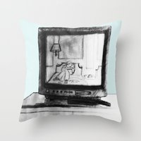 tv Throw Pillows featuring Television by Brontosaurus