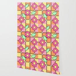 Retro Doodle Flower Style Quilt - Pink Yellow Orange Wallpaper