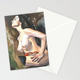 Original watercolor painting NUDE EROTIC GIRL posing Autumn Mood Stationery Cards