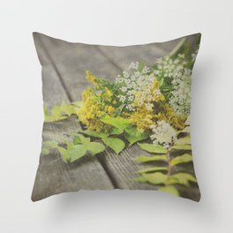 Rustic Fall Flowers Throw Pillow