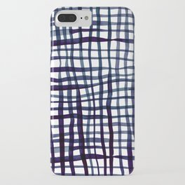 Watercolor doodle gingham - indigo iPhone Case