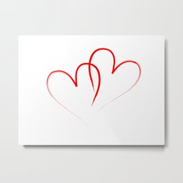 two red hearts intertwined Metal Print