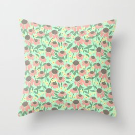 Echinacea and Coreopsis Throw Pillow