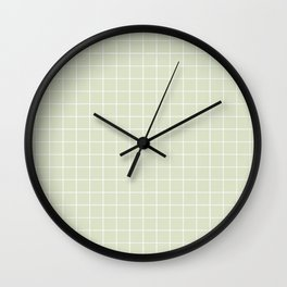 Green Grid Print Wall Clock