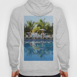 Tropical Ocean Delight, Pool Side View Hoody
