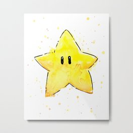 Invincibility Star Mario Watercolor Geek Gamer Art Metal Print