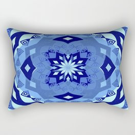 Elegant Boho Blue Soul Sacred Geometry Mandala Print Rectangular Pillow
