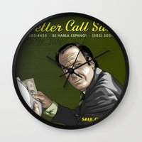 better call saul Wall Clocks featuring Better Call Saul by Denis O'Sullivan