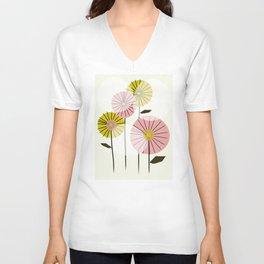 Abstract Summer Flowers Unisex V-Neck