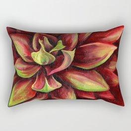 Red Succulent Cactus, Blue Flame Agave Rectangular Pillow