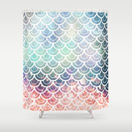mermaid scales coral and turquoise shower curtain