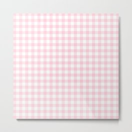 Light Soft Pastel Pink Cowgirl Buffalo Check Plaid Metal Print