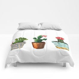 Three Cacti With Flowers On White Background Comforters