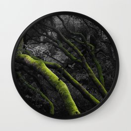 Mossy Bay Trees in Selective Black and White Wall Clock