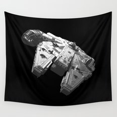 Millennium Falcon Black and White Wall Tapestry