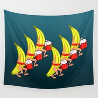 drums Wall Tapestries featuring Banana Marching Band by mailboxdisco