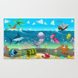 Funny scene under the sea. Rug