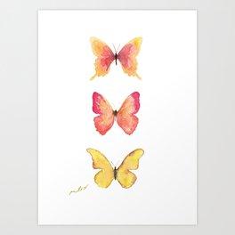Butterflies Illustration Watercolor - Warm colors Art Print