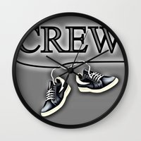 animal crew Wall Clocks featuring Crew by Cs025