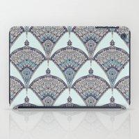 deco iPad Cases featuring Deco Doodle in Aqua, Cream & Navy Blue by micklyn