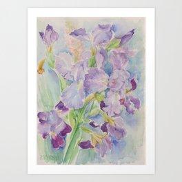 Irises Watercolor floral painting Purple Blue Flower Wedding decor Art Print