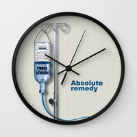 vodka Wall Clocks featuring Vodka remedy by Tony Vazquez