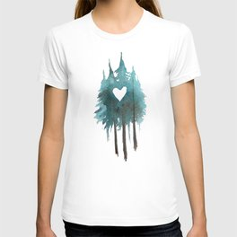 Forest Love - heart cutout watercolor artwork T-shirt