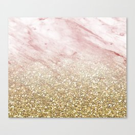 Rose gold marble sunset gradient Canvas Print