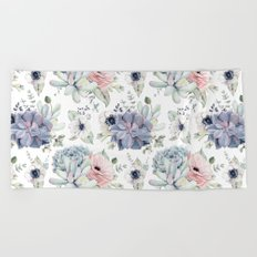 Succulents Blue + Rose Pink on White Beach Towel