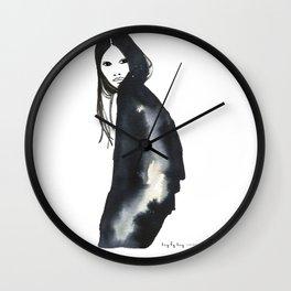 Girl in black Wall Clock