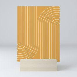 Minimal Line Curvature - Golden Yellow Mini Art Print