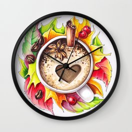Fall and cup of coffee Wall Clock