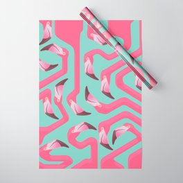 Flamingo Maze on beach glass background. Wrapping Paper