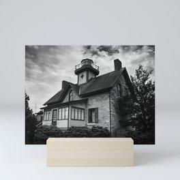 Cedar Point Lighthouse in Black and White Landscape Photograph Mini Art Print