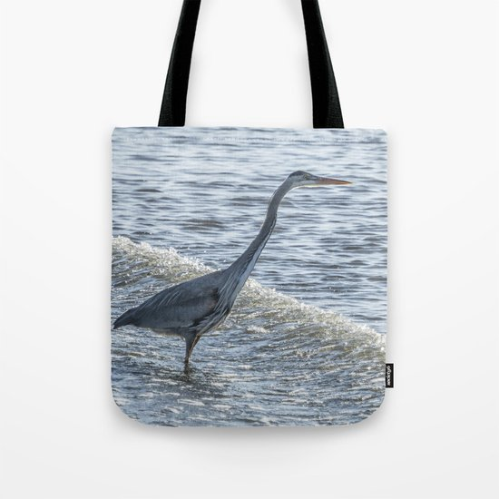 Great Blue Heron and Wave by belindagreb