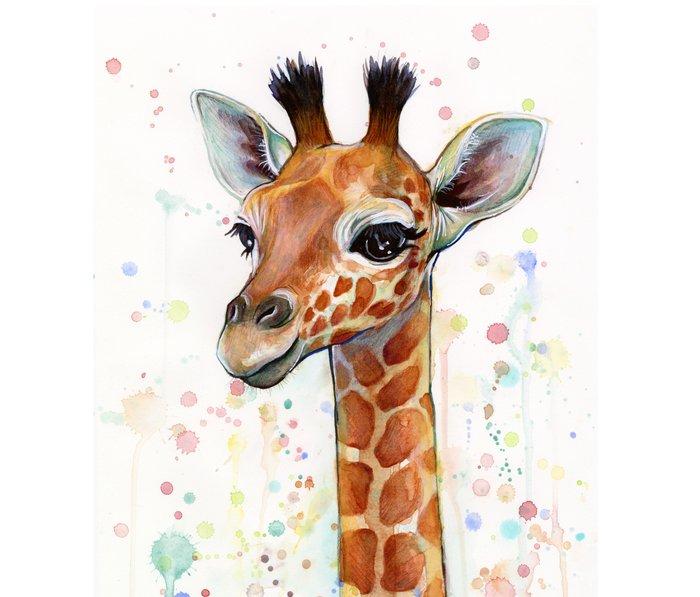 Giraffe Baby Animal Watercolor Whimsical Nursery Animals Metal Travel Mug